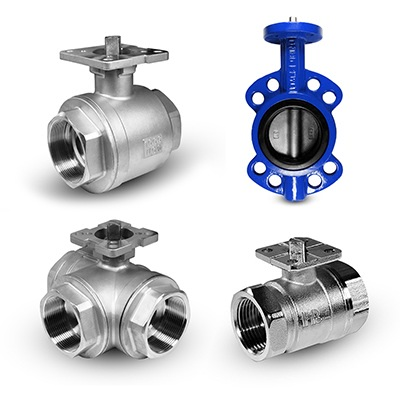 Valves with a mounting base for actuators