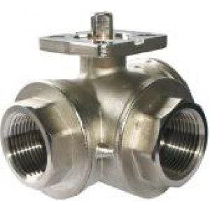3-way ball valve 1 inch DN25 mounting plate ISO5211 industrial