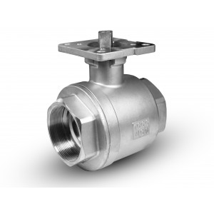 Stainless steel ball valve 1 1/2 inch DN40 mounting platform ISO5211