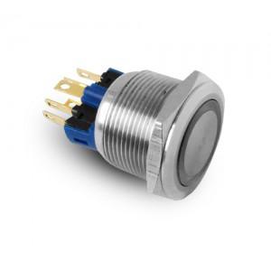 Button 22mm stainless steel IP65 LED 230V or 24V blue momentary