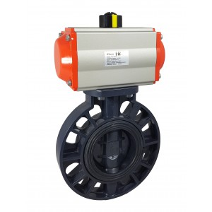 Butterfly valve, throttle DN100 UPVC with pneumatic actuator AT83