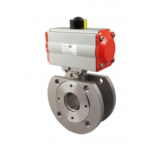 Flange stainless steel ball valve DN25 with pneumatic actuator AT52