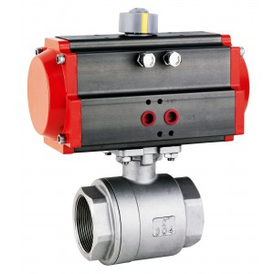 Stainless steel ball valve 1 1/2 inch DN40 with pneumatic actuator AT63