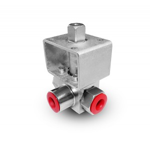 High pressure 3-way ball valve 1/4 inch SS304 HB23 mounting plate ISO5211