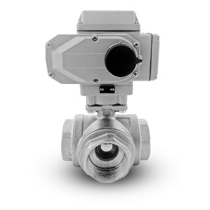 Stainless steel 3-way ball valve 1 1/2 inch DN40 with electric actuator A500