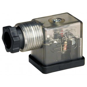 Plug to solenoid valve DIN 43650B with LED - small