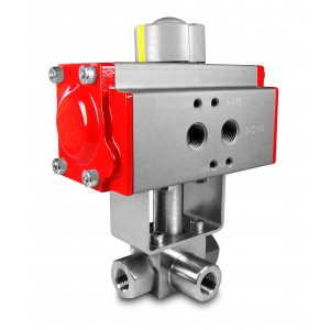 High pressure 3-way ball valve 1/4 inch SS304 HB23 with pneumatic actuator AT52