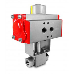 High pressure ball valve 1/4 inch SS304 HB22 with pneumatic actuator AT40