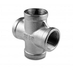 Stainless steel pipe cross internal thread 4 x 1/4 inch