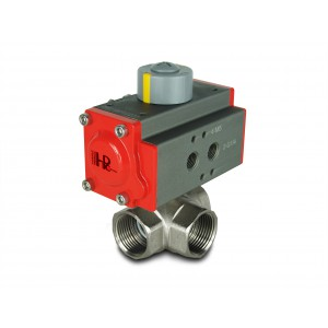 3-way Brass ball valve 1 inch DN25 with pneumatic actuator AT40